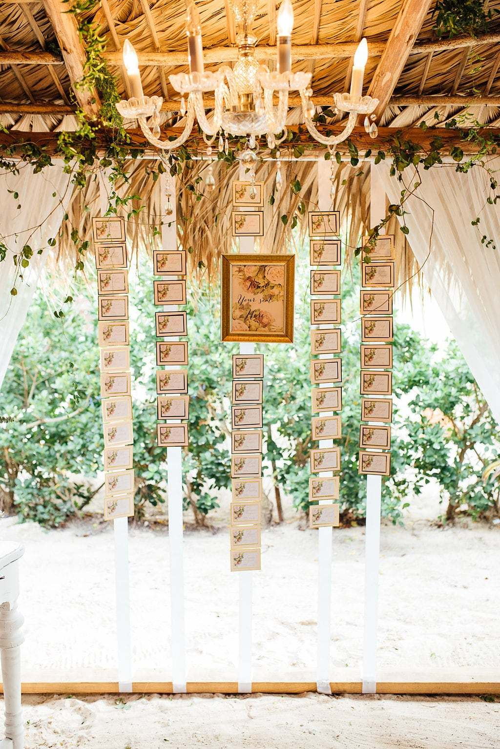 Hanging wedding escort card display ideas