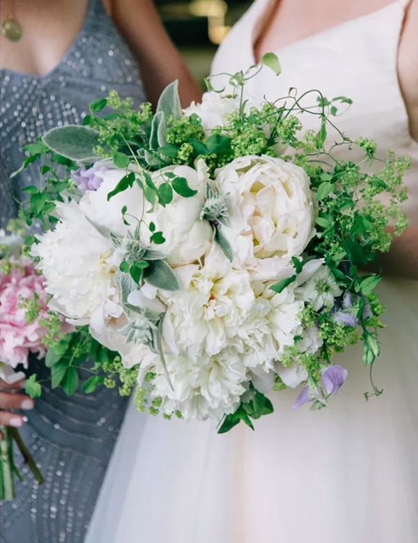 Luscious Pink and White Peonies Greenery Wedding Bouquets for Spring