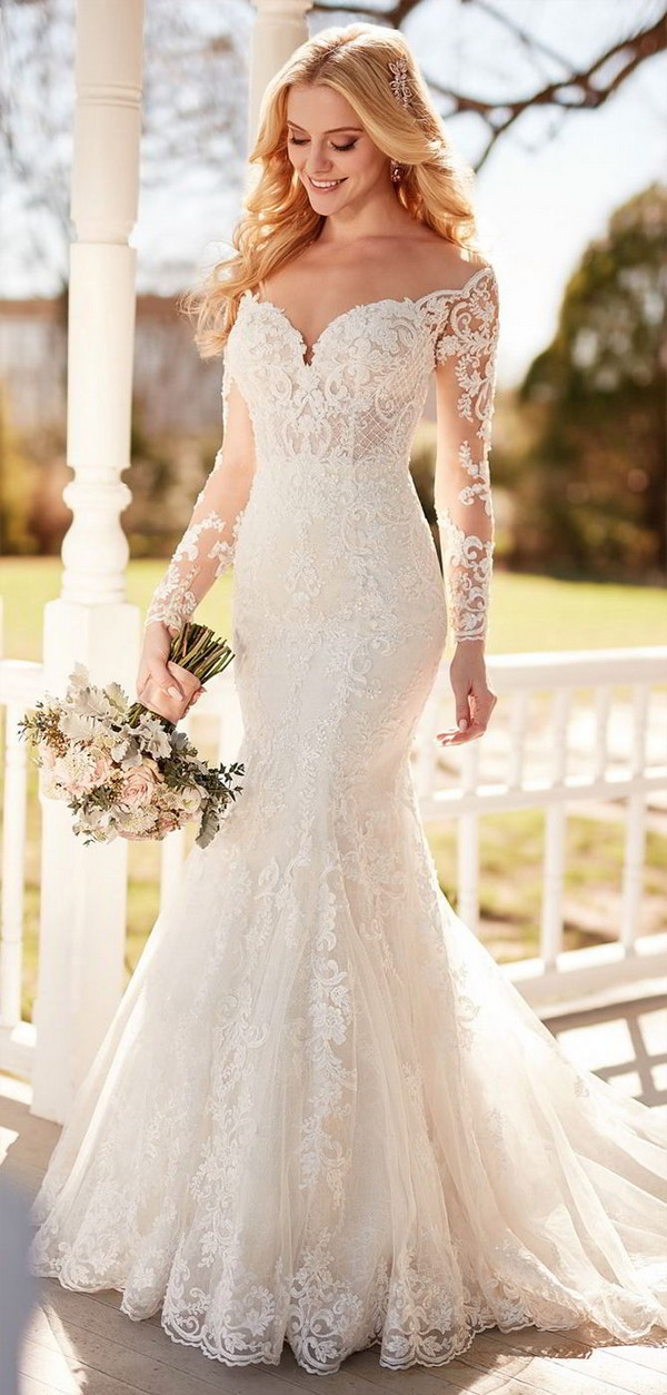 Martina Liana Wedding Dress With Long Lace Sleeves