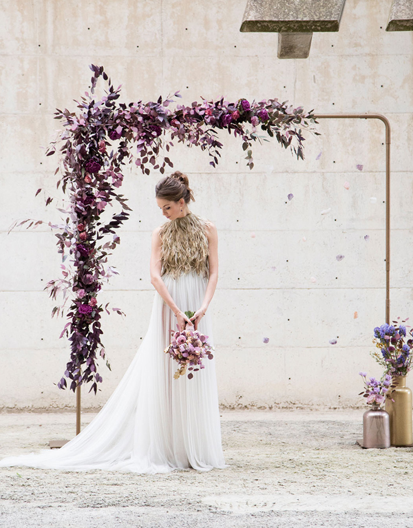 Modern Luxury Violet Hued Floral Decorated Wedding Arch Inspiration