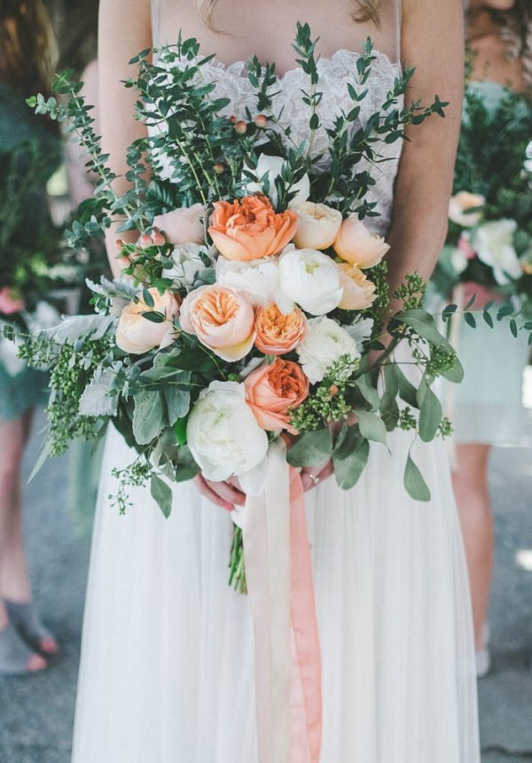 Peach and Green Wedding Bouquets with Pink Accents