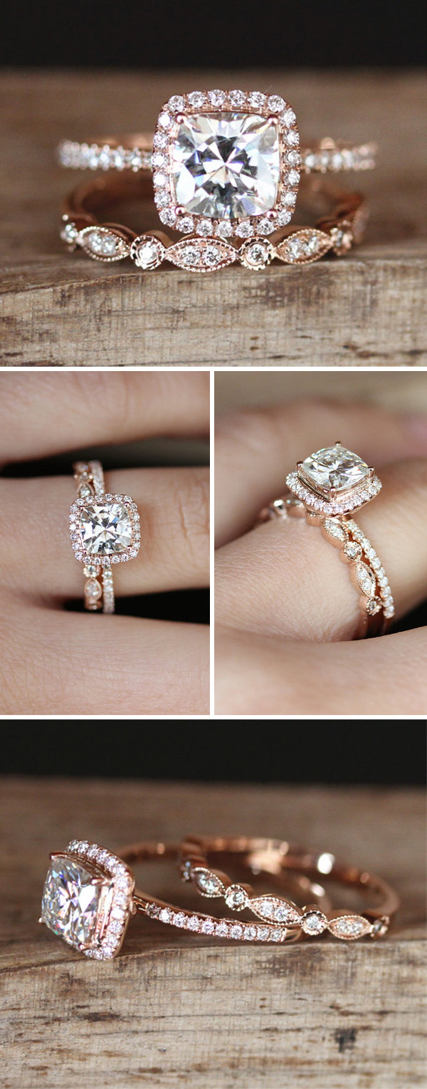 Rose gold engagement wedding ring set