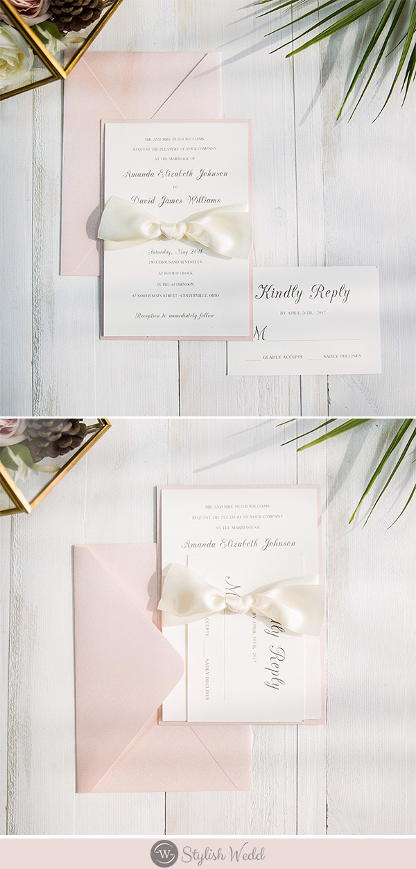 Simple elegant white wedding invitation with ribbon that you can DIY
