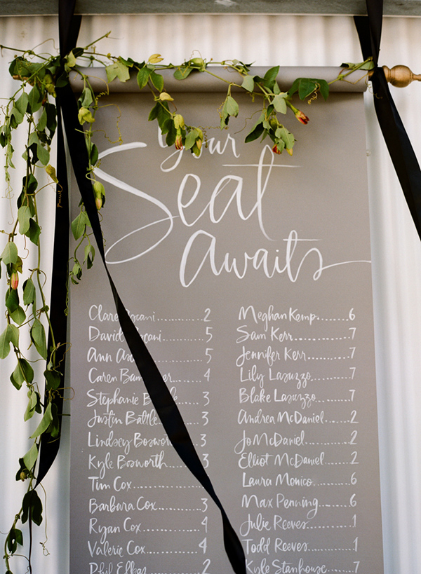 Stylish calligraphy seating chart wedding ideas