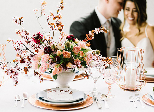 Vibrant Cherry Blossoms Wedding Centerpiece Arrangement