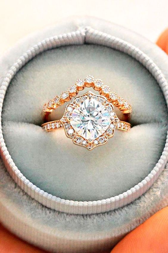 Vintage cushion cut engagement wedding rings