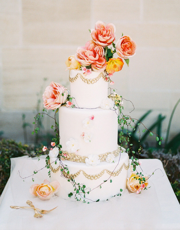 Whimsical Citrus Hued Spring Wedding Cake Ideas