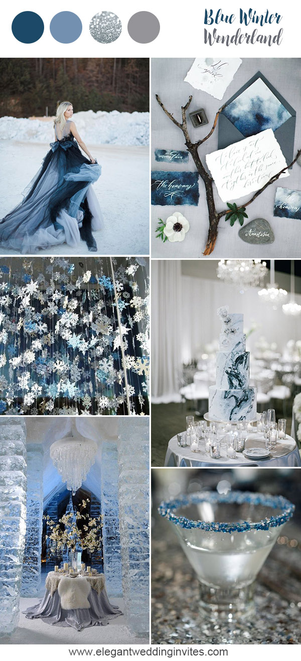 Whimsical winterwonderland blue wedding party inspiration