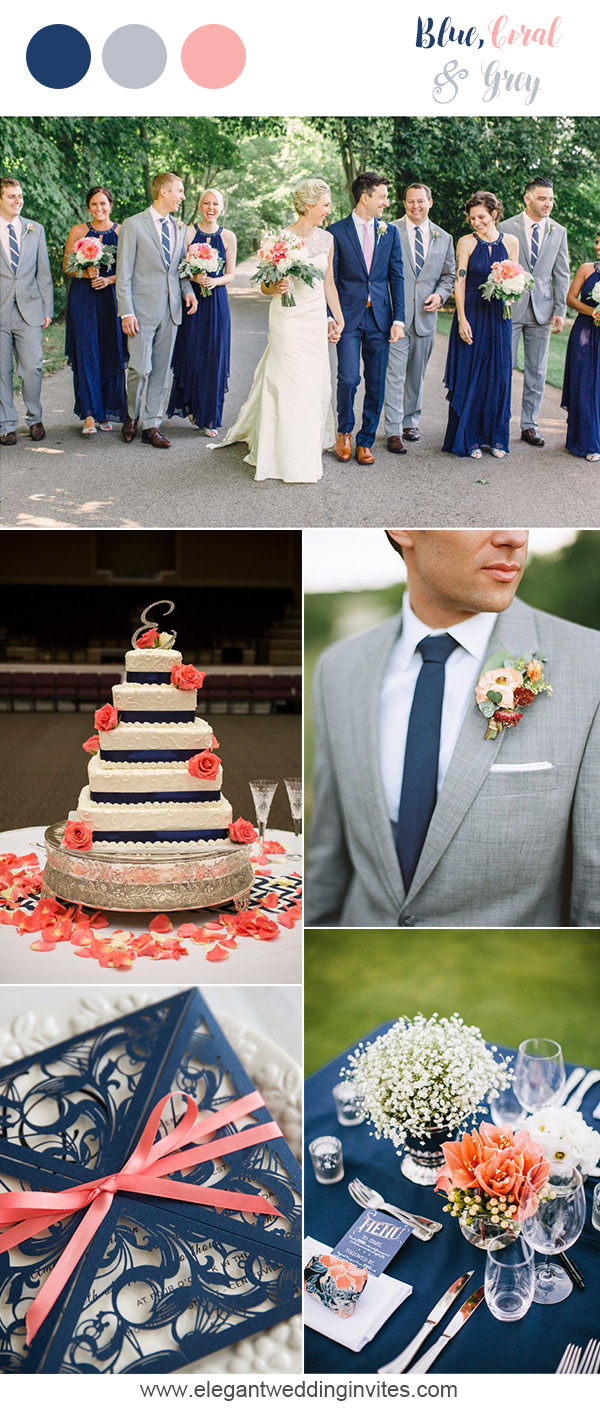 blue, silver and coral pink wedding colors