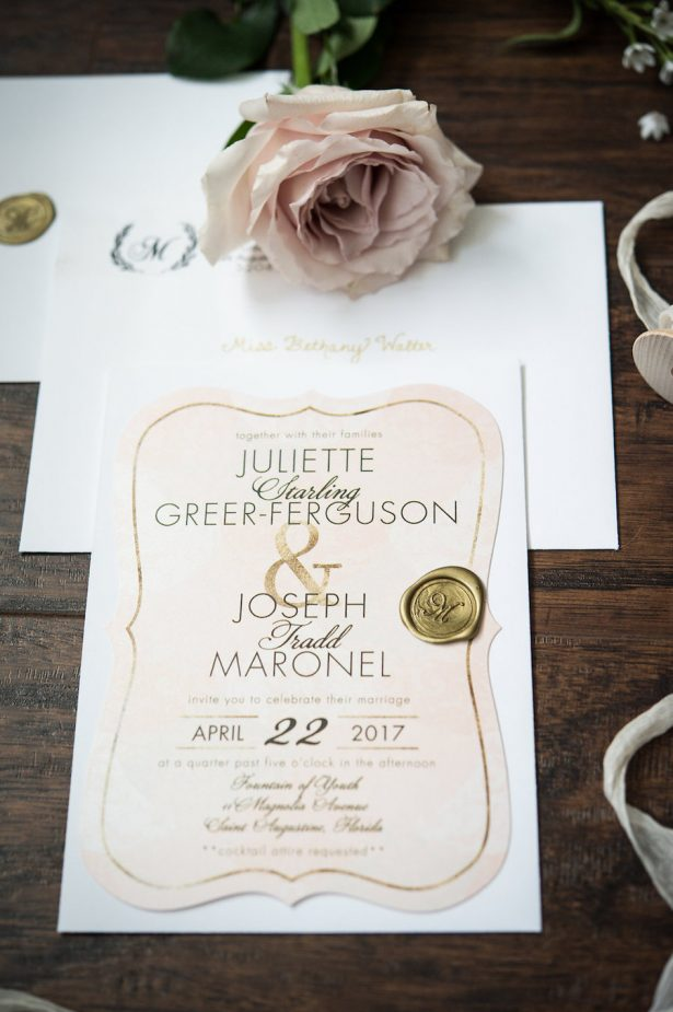 blush watercolor wedding invitation card with gold wax seal