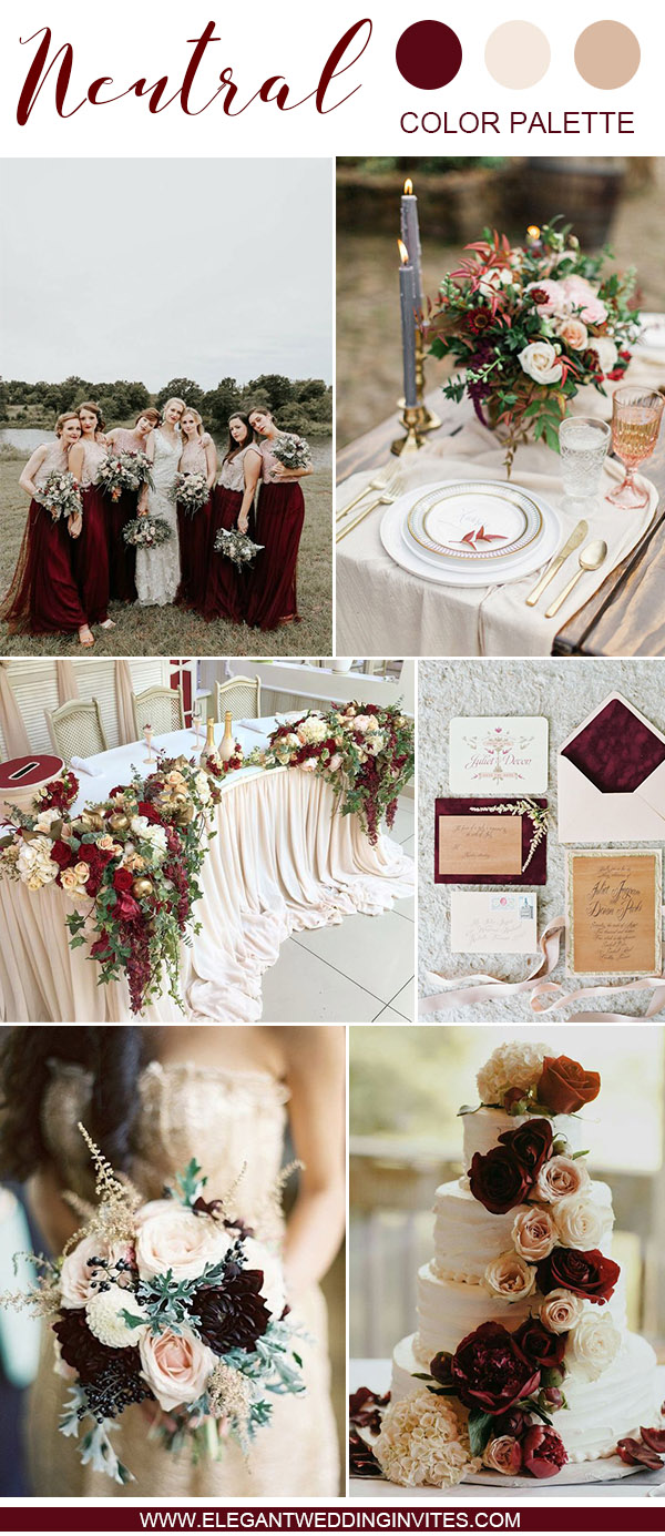 burgundy,blush and ivory fall wedding color palette