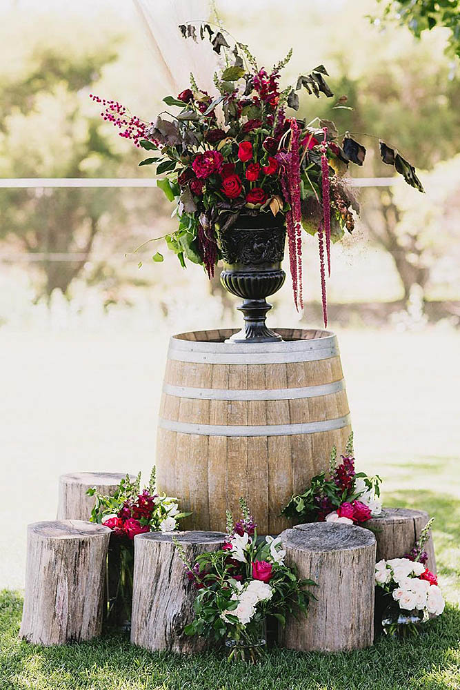 20 chic garden inspired rustic wedding ideas for brides to follow chic rustic country wedding decoration with stumps and florals workwithnaturefo