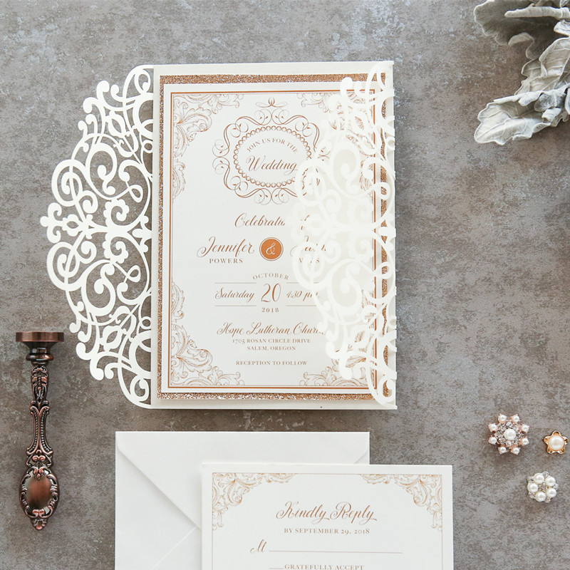 classic formal ivory and gold scroll glittery laser cut wedding invites