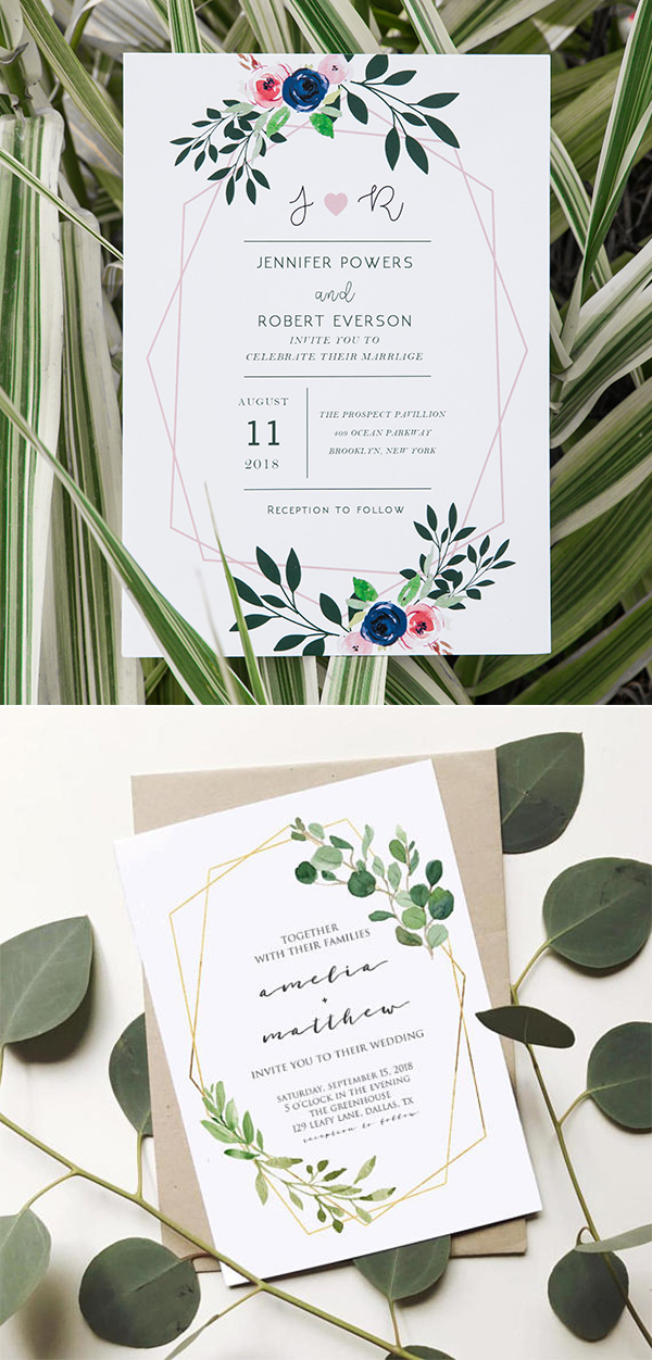geometric wedding invitation with floral and greenery