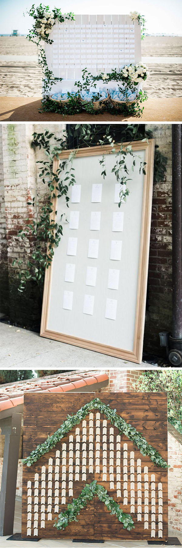 giant seating chart and escort card boards with greenery decoration