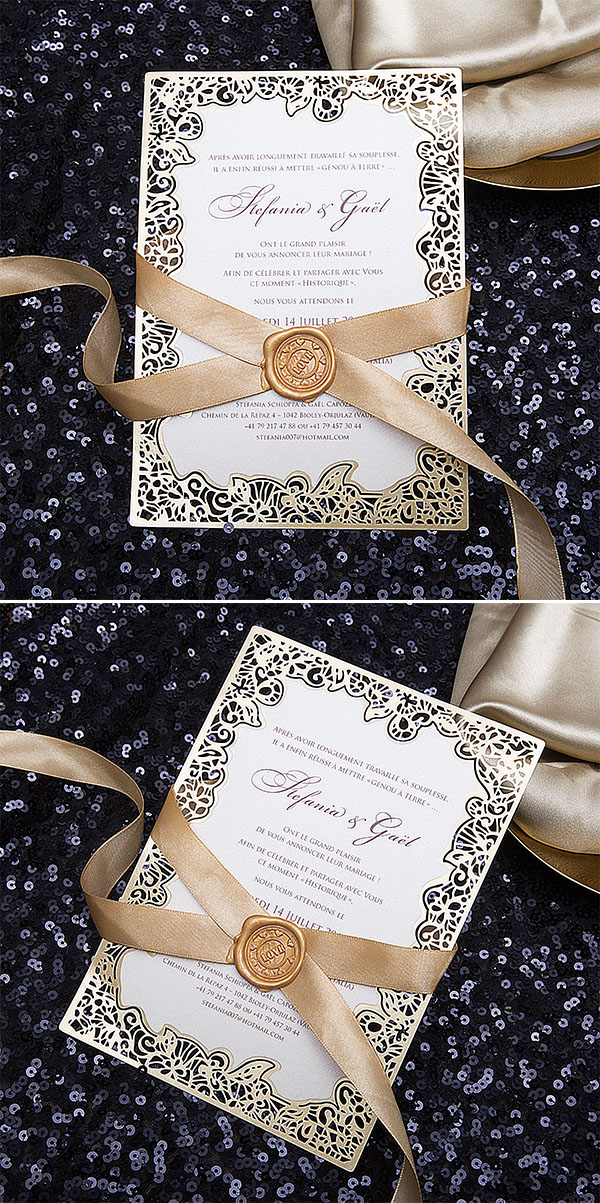 laser cut wedding stationery with seal wax