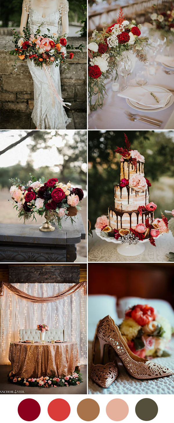 8 Beautiful Wedding Color Ideas In Shades Of Red Wine And Burgundy