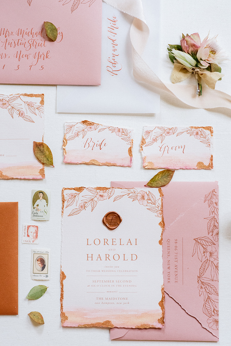 peach and copper wedding invitations with wax seal