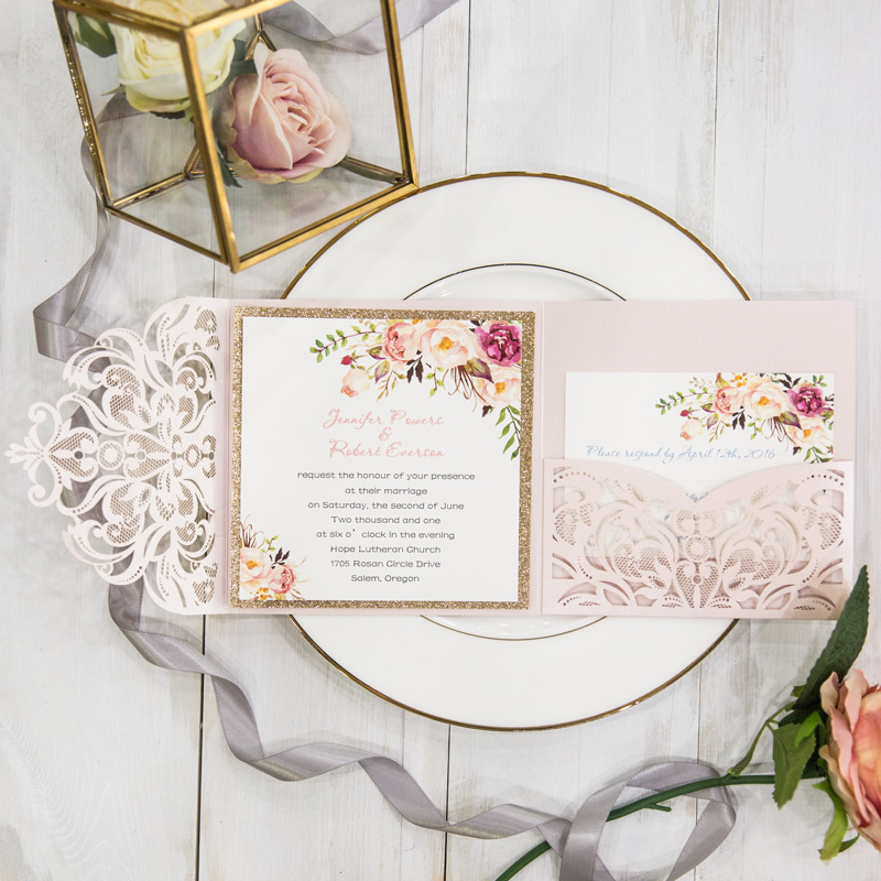 romantic blush pink spring flower glittery laser cut pocket wedding invitation kits EWWS201