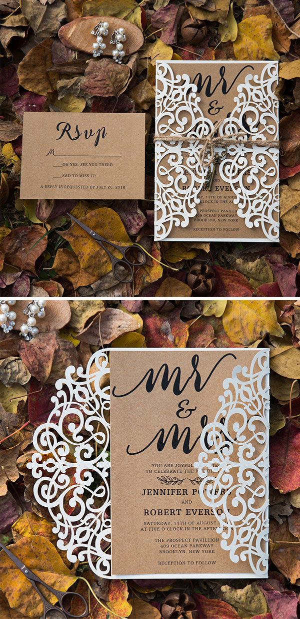 rustic wedding invitations with laser cut pocket and burlap knot