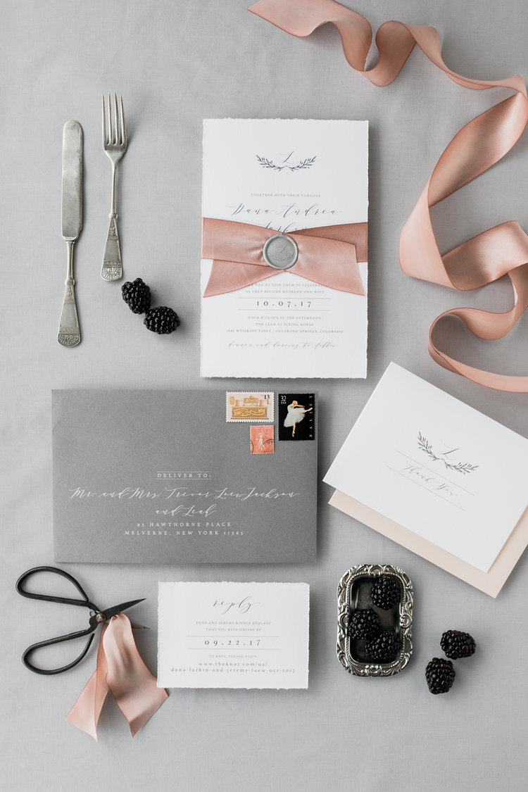 soft grey printing wedding invitation with satin finish silk ribbon and wax seal