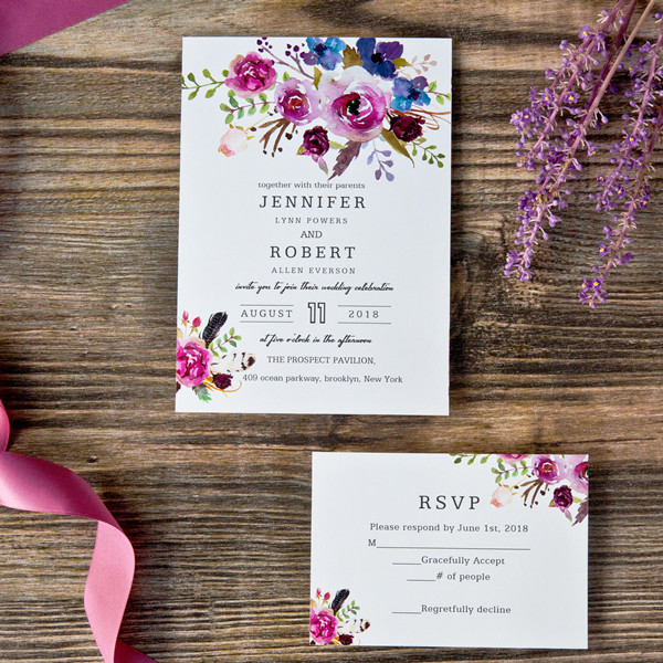 spring magenta shades of purple wedding invitations EWI423