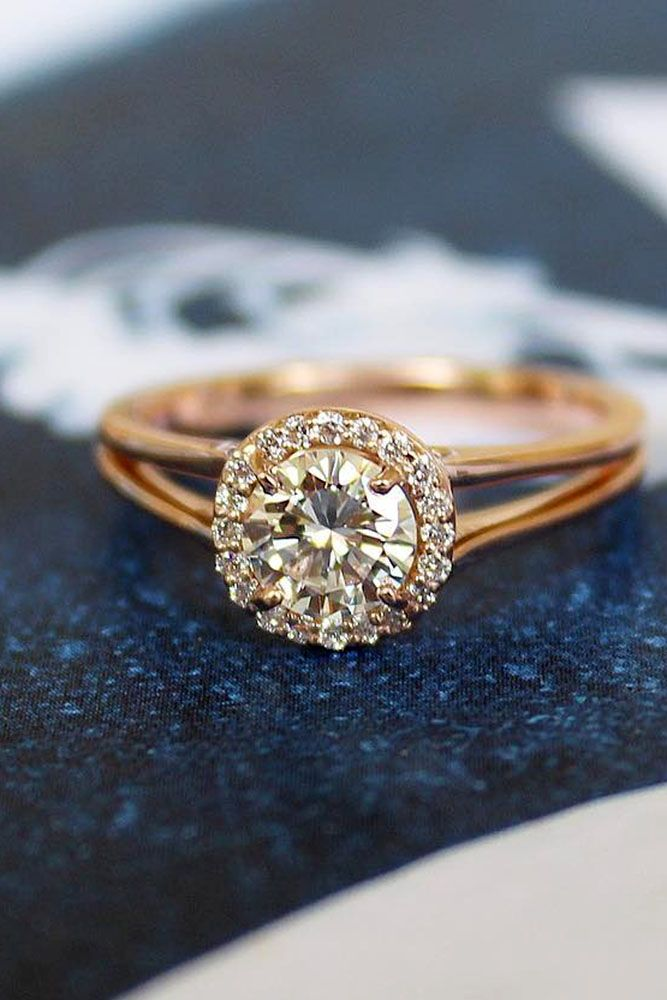 trendy rose gold engagement rings