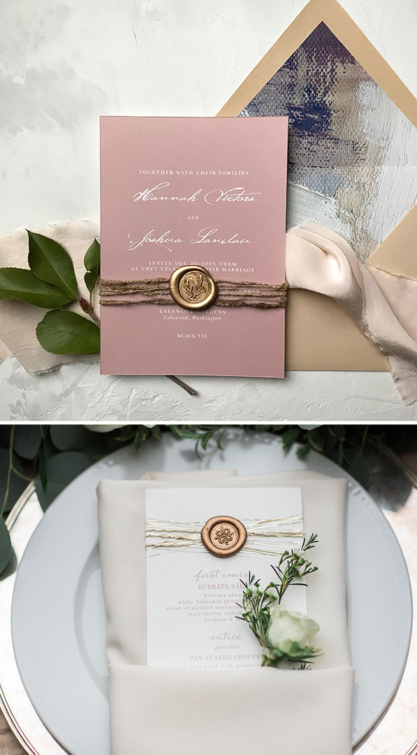 unique DIY wedding invitations with wax seal