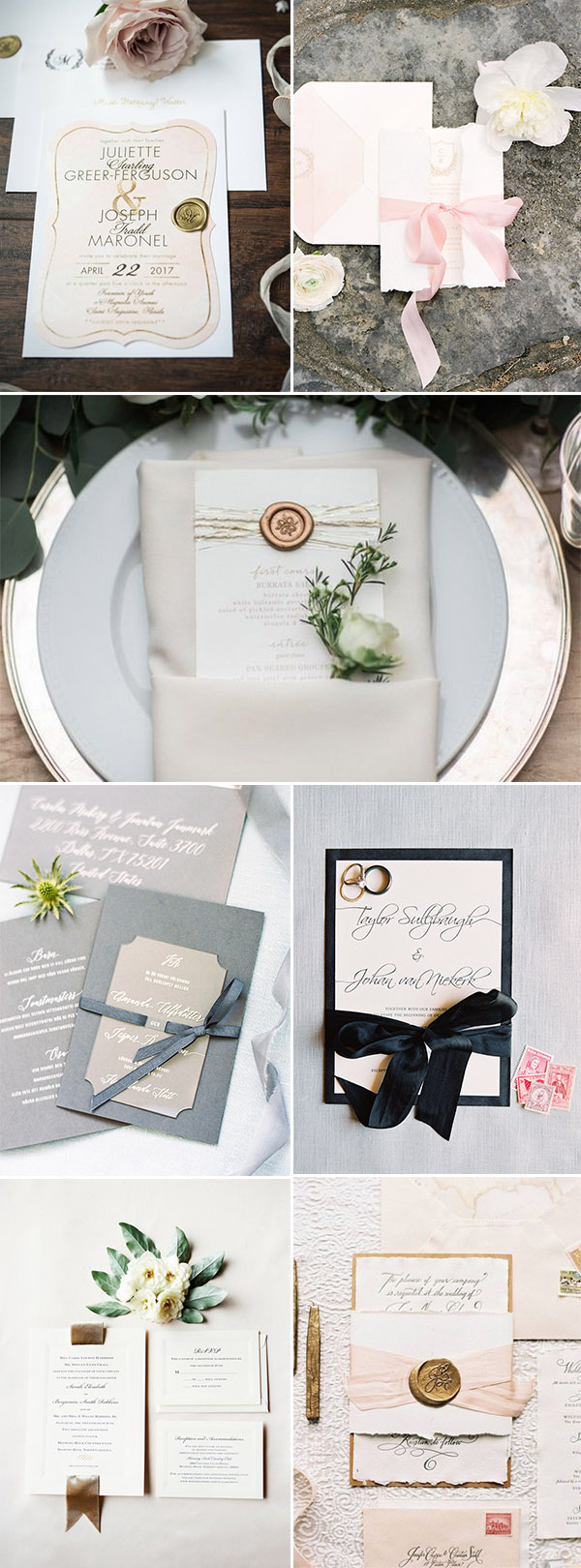 upgraded simple wedding invitation with wax seal and ribbon