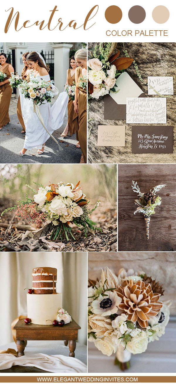 warm brown fall and winter wedding color palette
