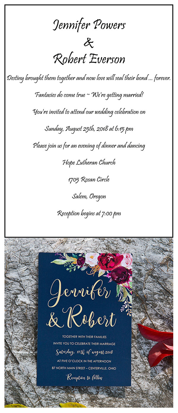 boho navy blue and burgundy floral watercolor wedding invitations EWI424