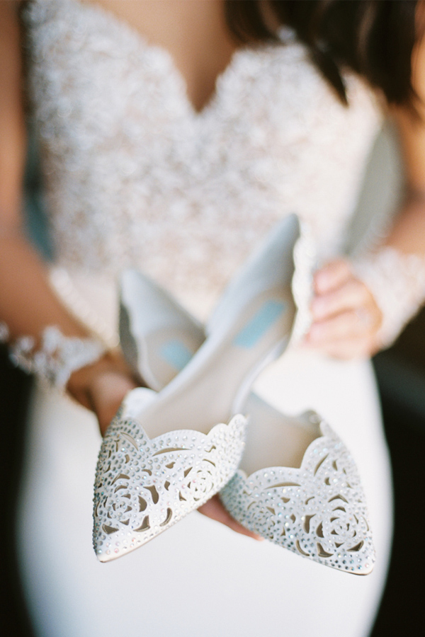 white pointed toe jeweled laser cut weddng flats