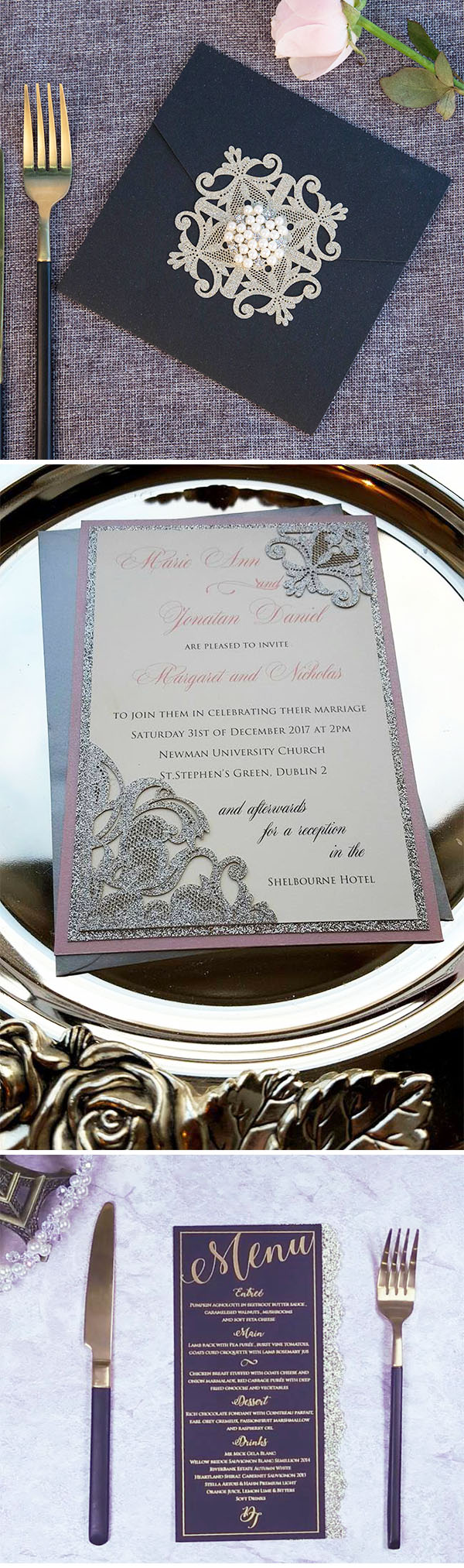 Add partial glitter to your wedding invitations