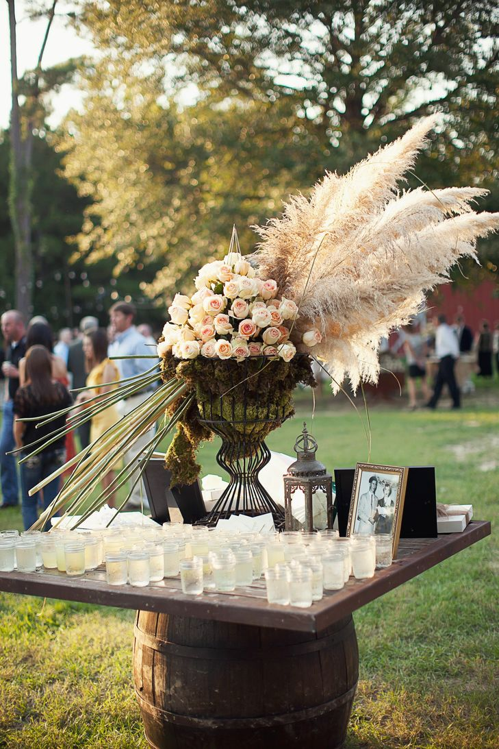 Backyard Wedding Drink Table with Cool Pampass Grass