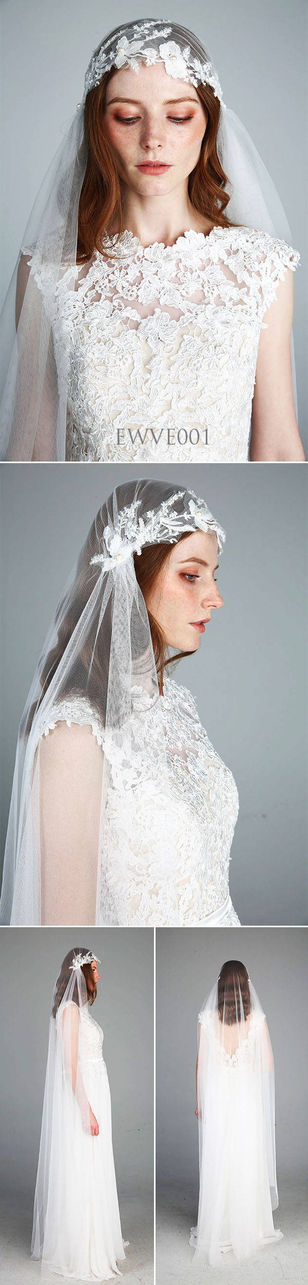 Bohemian Juliet Cap Veil Wedding Lace Veil Chapel Veil