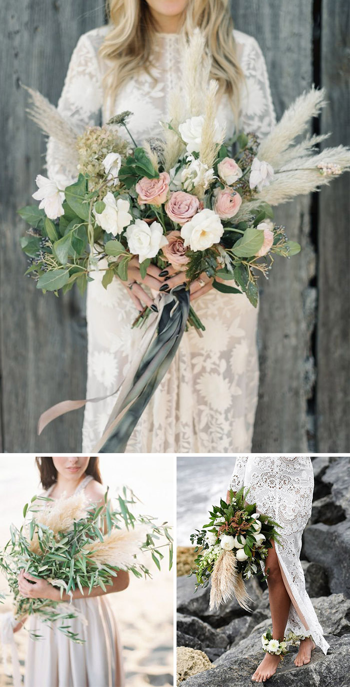 Bohemian Pampas Grass Bridal Bouquets Ideas