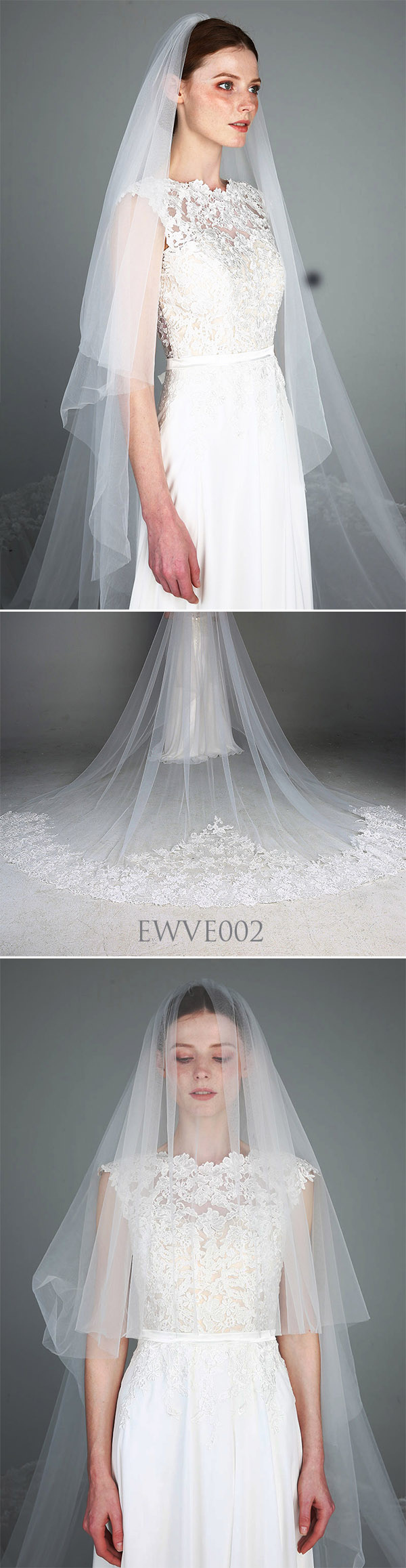 Cathedral Veil Romantic 2 Tiers Lace Wedding Bridal Veil