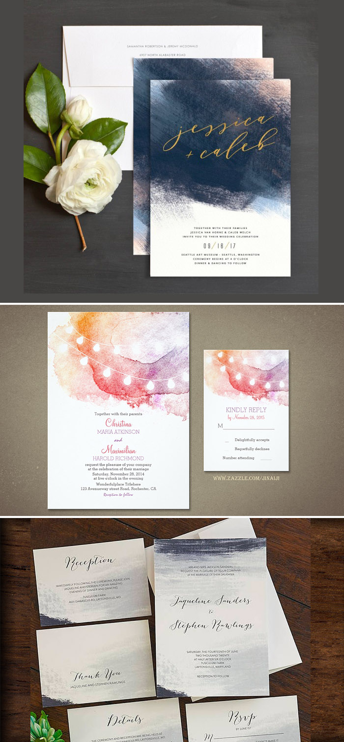 Invitations with partial watercolor design