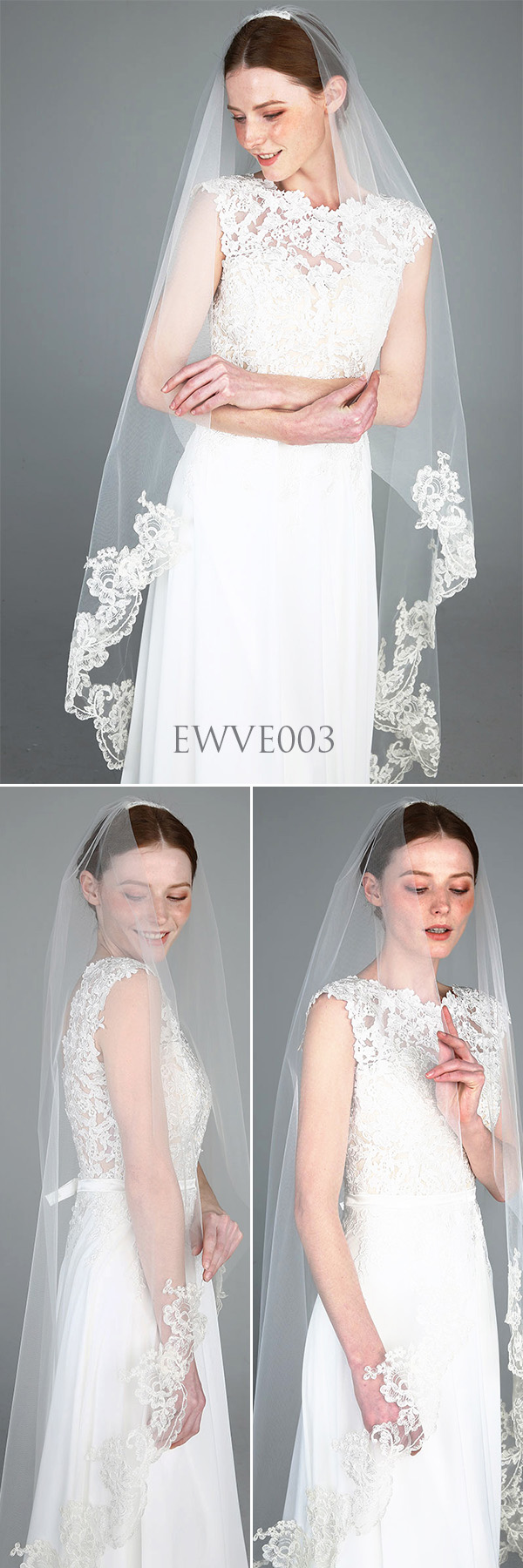 Lace Bottom Single TierFingertip Wedding Veil