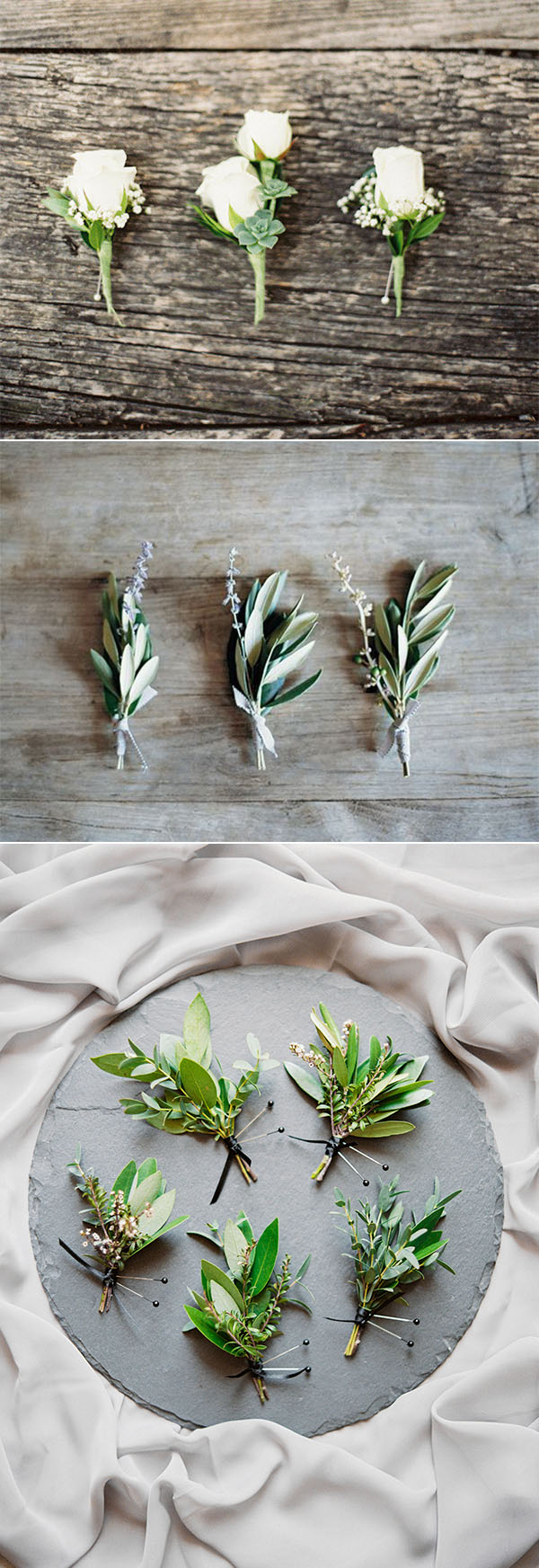 Organic inspired wedding boutonnieres