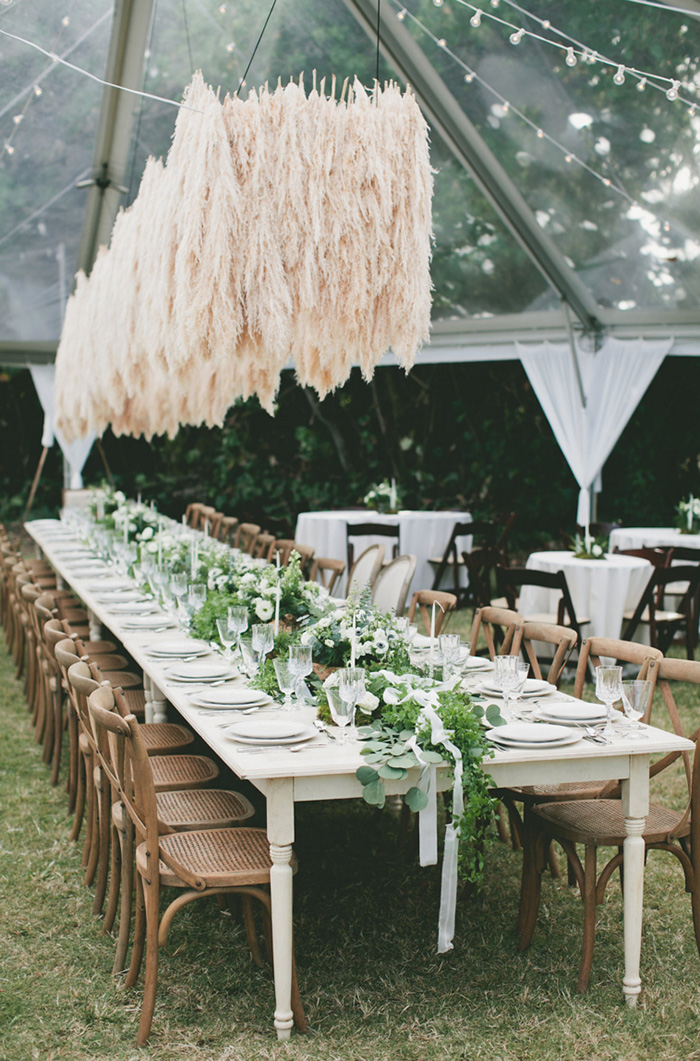 Pampas Grass Chandelier Wedding Ceremony Decoration Ideas