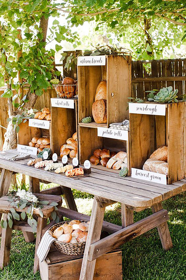 Rustic Bread and Butter Wedding Station Ideas