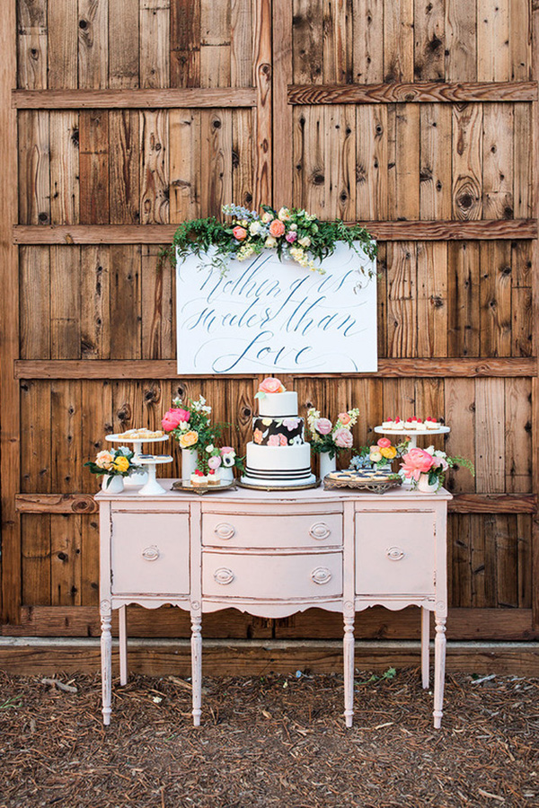 Rustic Country Wedding Dessert Display with Floral Sign