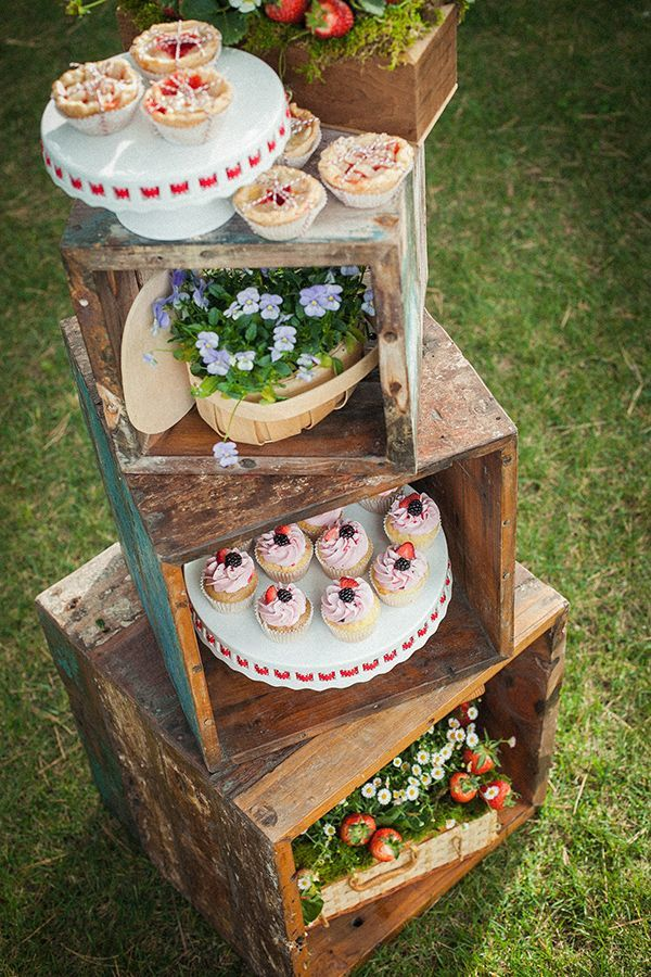 Stacked Crates with Cakes Ffor Wedding Food Display Ideas