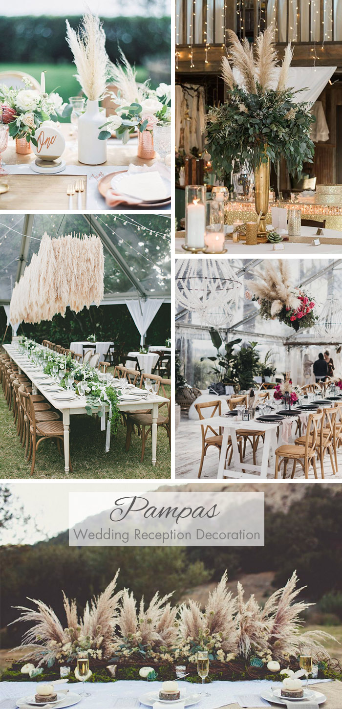 Stylish Pampas Grass Wedding Ceremony Table Setting Ideas