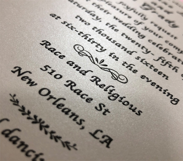 Thermography printing for wedding invitations