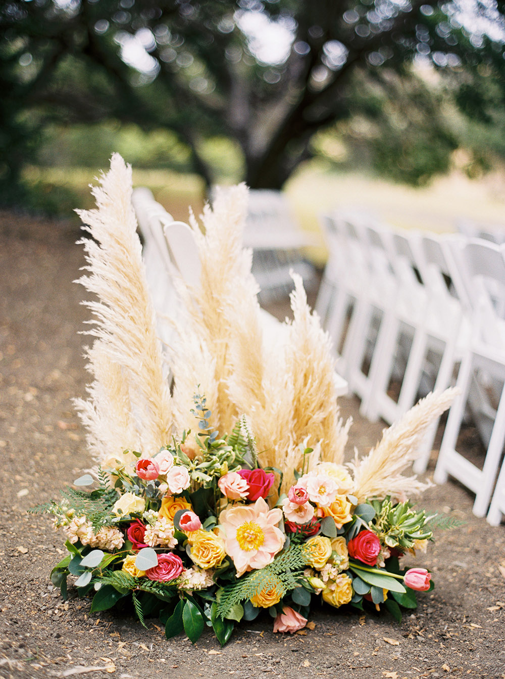 Wedding Ceremony Aisle Decoration with Pampas Grass