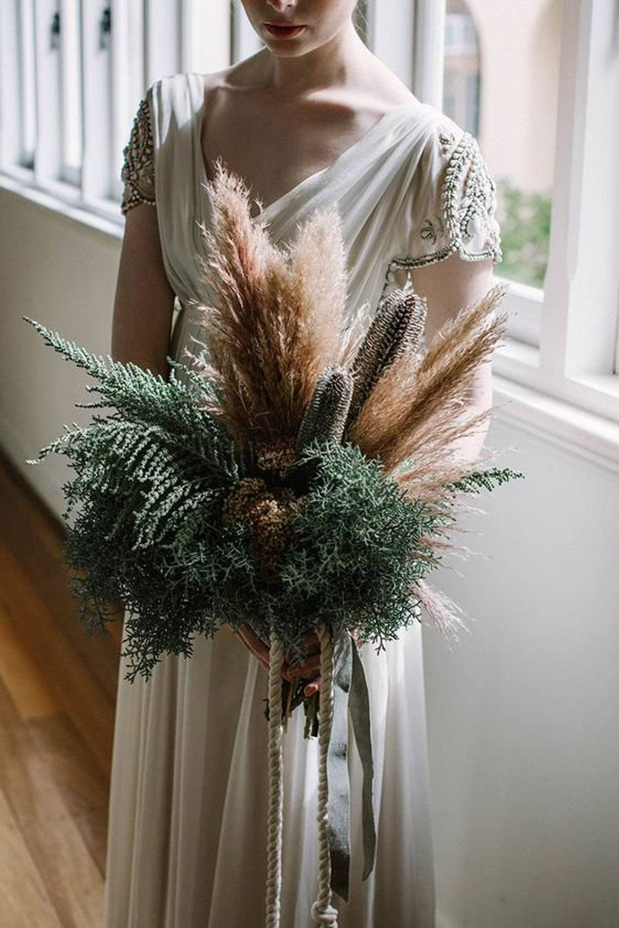 Wheat, Pampas Grass and Dried Flowers Wedding Bouquet