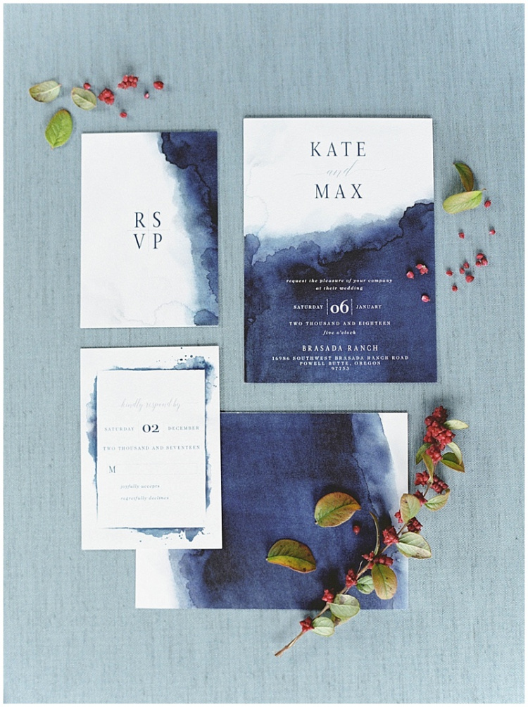 watercolor navy indigo and white wedding invitations