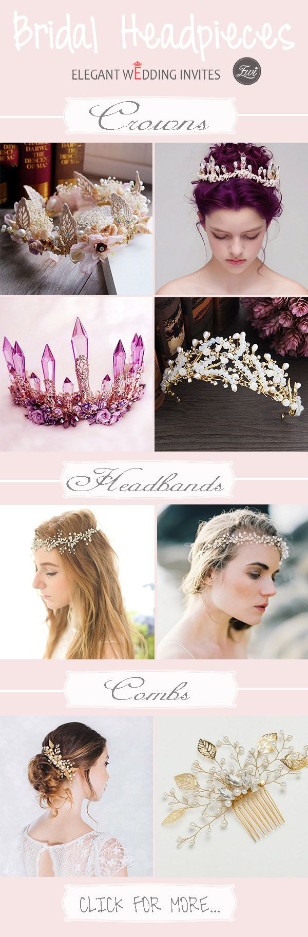 bridal headpieces collection from Elegant Wedding Invites